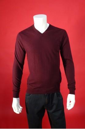 Messagerie maglione Uomo cachemire taglia L scollo V bordeaux maglia pull
