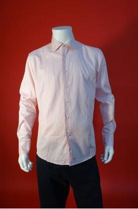 Valentino Camicia Uomo Tessuto Cotone Taglia 42 Slim Righe Rosa Manica Lunga