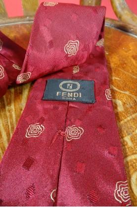 Fendi cravatta pura seta colore bordeaux made in italy roma