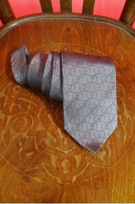 Gucci cravatta 100% seta lucida con pois colore grigio