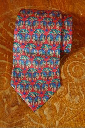 Salvatore ferragamo cravatta in pura seta fantasia indiana made in italy