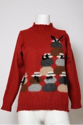 Vintage maglione donna tessuto lana  tg 44 over size rosso alpaca