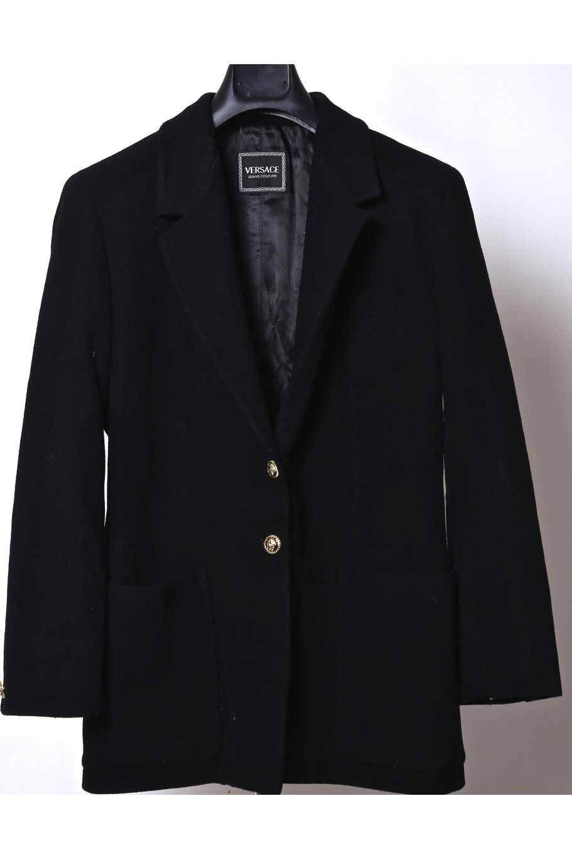 Versace cappotto donna tessuto lana tg XL slim fit nero