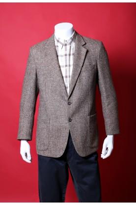 Vintage giacca uomo tessuto lana taglia 46 tweed colore marrone chiaro