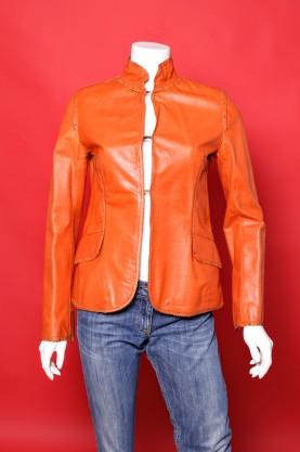 Laltramoda giacca donna tessuto pelle taglia 44 colore arancio slim fit