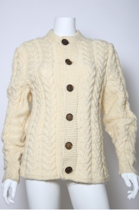 VINTAGE maglione lana donna style norvegese tg46 bottone wool