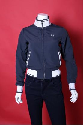 Fred Perry Giacca Donna cotone taglia M giubbino blu zip slim fit special edition jacket