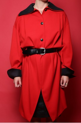 Gianfranco Ferrè Giacca Donna Lana Taglia 42 44 Rosso Cappotto Lungo Jacket Vintage