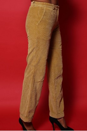 Moschino Pantalone Donna Velluto Taglia 44 Beige Vintage Vita Alta Regular
