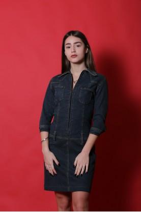 Vintage tre Jeans abito donna cotone jeans taglia 38 blu denim manica corta bottoni