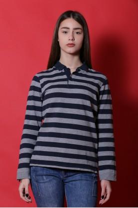 Sun 68 maglia donna cotone taglia S manica lunga polo grigio blu