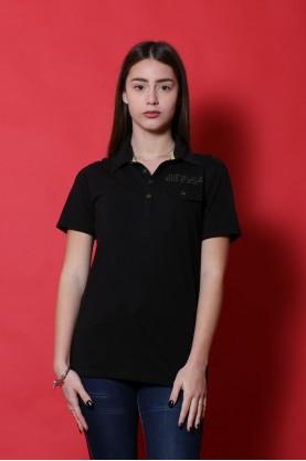 Guess maglia donna cotone taglia XS  shirt polo nero manica corta